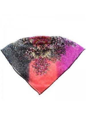Wholesale Ladies' Square Scarves - Flower Design (Assorted Colours)
