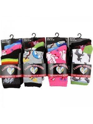 Wholesale Children's 'I Love Unicorn' Socks - Assorted Designs (Size 9-12)