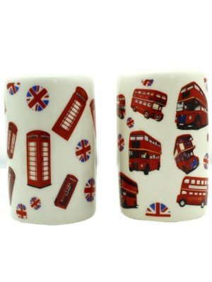 Wholesale Souvenier London Bus & Telephone Ceramic Salt & Pepper Set