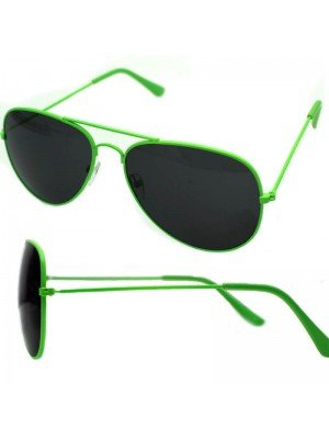 Wholesale Unisex Double Bridge Aviator Glasses - Lime Green