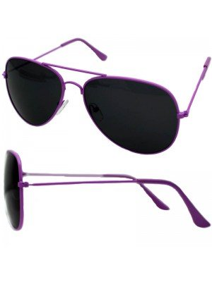 Wholesale Unisex Double Bridge Aviator Glasses - Purple