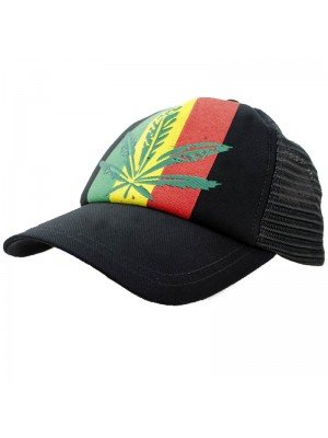 Wholesale Snapback Rasta Leaf Leaf Design - Black