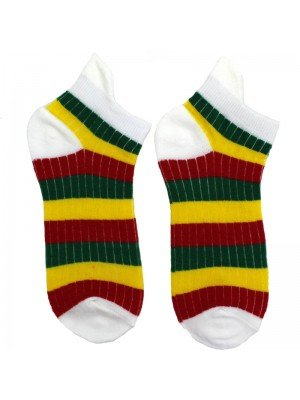 Wholesale Rasta Striped Colour Socks - White