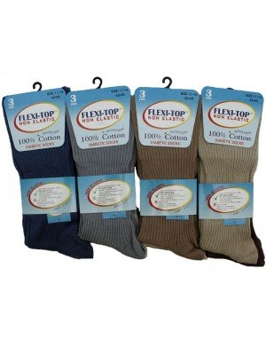Wholesale Unisex Flexi-Top Non Elastic Diabetic Socks - Light Assortment