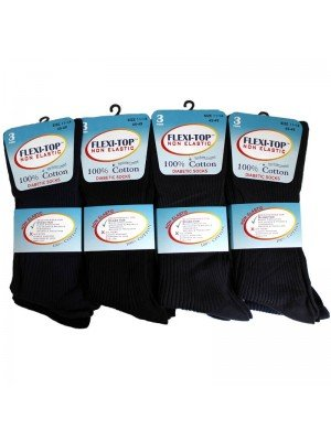 Wholesale Unisex Flexi-Top Non Elastic Diabetic Socks (100% Cotton) - Dark Assortment