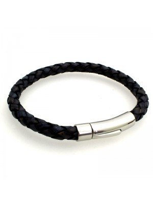 Wholesale Tribal Steel - Bolo Leather Bracelet with Rocker Clasp - 21cm - Denim