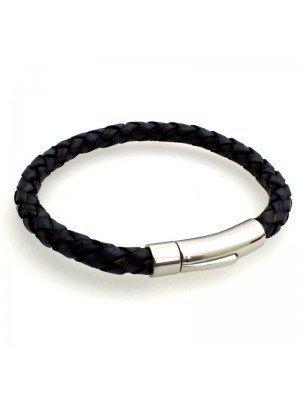 Wholesale Tribal Steel - Bolo Leather Bracelet with Rocker Clasp - 21cm - Denim