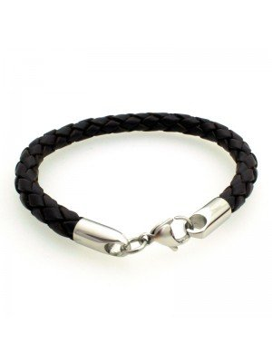 Wholesale Tribal Steel - Leather Bracelet with Lobster Clasp - 21cm - Brown