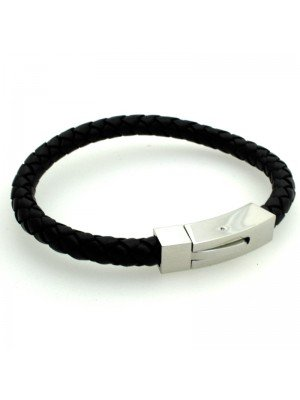 Wholesale Tribal Steel - Black Leather Bracelet with Lever Clasp - 21 cm