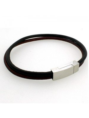 Wholesale Tribal Steel - Double-Strand Leather Bracelet Magnetic Clasp - 22 cm - Black/Brown