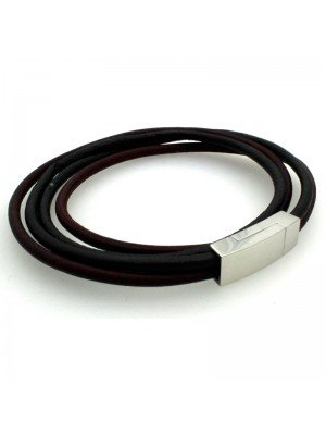 Wholesale Tribal Steel - Double-Strand Leather Bracelet Magnetic Clasp - 44 cm - Black/Brown