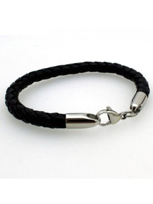 Wholesale Tribal Steel - Leather Bracelet with Lobster Clasp - 21cm - Black