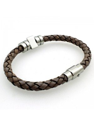 Wholesale Tribal Steel - Leather Braided Bracelet 3 Swivel Bands - 21cm - Grey