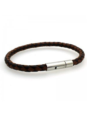 Wholesale Tribal Steel - Bolo Leather Leather Bracelet with Mechanical Clasp - 21cm - Two Tone Brown