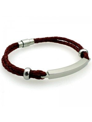 Wholesale Tribal Steel - Bolo Two-Strand Leather Bracelet with ID feature and Twist Clasp - 20 cm - Red