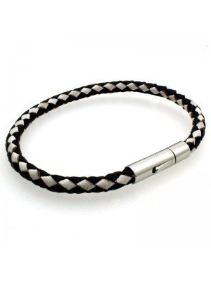 Wholesale Tribal Steel - Bolo Leather Leather Bracelet with Mechanical Clasp - 21cm - Black/White