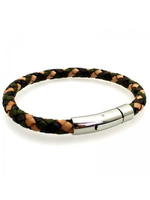 Wholesale Tribal Steel - Bolo Leather Bracelet with Rocker Clasp - 21cm - Camo