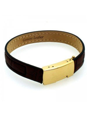 Wholesale Tribal Steel - Stitched Leather Bracelet with Adjustable GP Squeeze Clasp - 21 cm