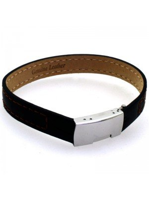 Wholesale Tribal Steel - Stitched Leather Bracelet with Adjustable Stainless Steel Squeeze Clasp - 22.5 cm - Black