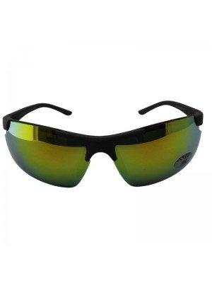 Adults Sports Sunglasses Green Mirror Effect - Black