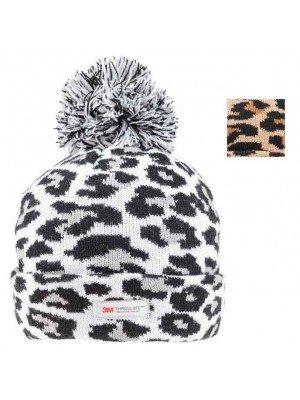 Wholesale Ladies Leopard Print Thinsulate Bobble Hat