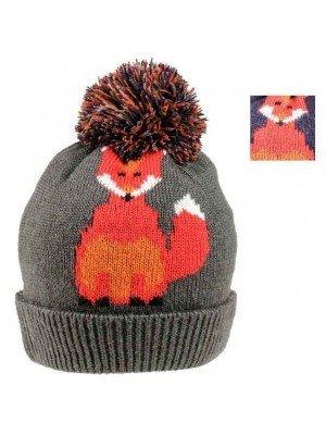 Wholesale Ladies Fox Print Knitted Pom Pom Hat