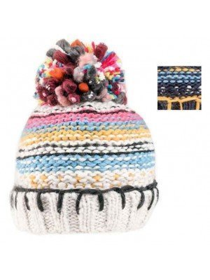 Wholesale Ladies Chunky Knitted Bobble Hat With Fleece Lining