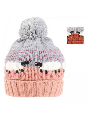 Wholesale Ladies Sheep Print Knitted Bobble Hat