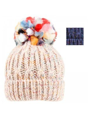 Wholesale Ladies Chunky Knitted Pom Pom Hat