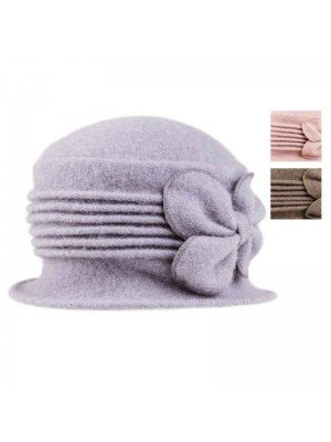 Wholesale Ladies Crushable Wool Hat with Bow Detail