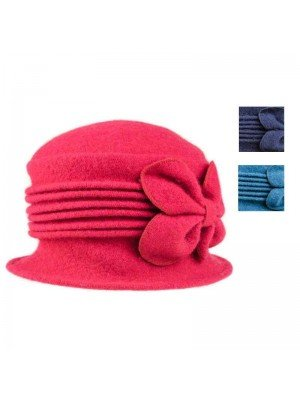 Wholesale Ladies Crushable Wool Hat With Flower Detail