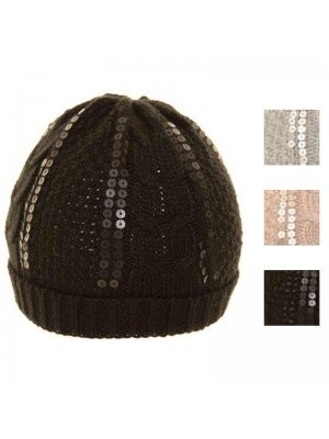 Wholesale Ladies Ladies Sequin Ski Hat - Assorted colours