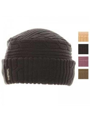 Wholesale Ladies Thermal Fleece Cable Knit Effect Hat - Assorted Colours