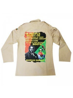 A People Without...- Marcus Garvey Buttoned Shirt Jacket - Beige