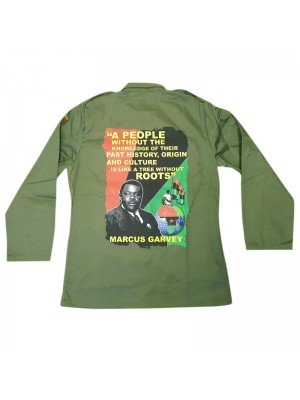 A People Without...- Marcus Garvey Buttoned Shirt Jacket - Khaki Green