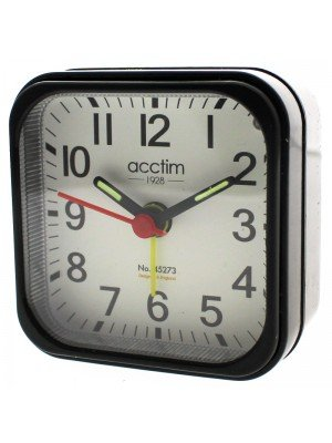 Acctim Maldon Quartz Mini Alarm Clock - Black