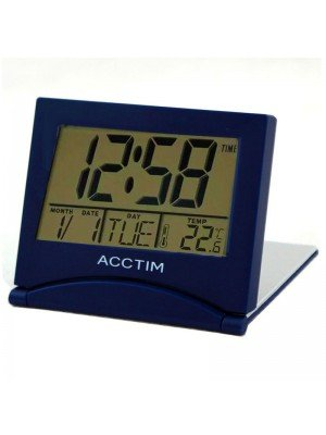 Wholesale Acctim Mini Flip LCD Travel Alarm Clock - Blue