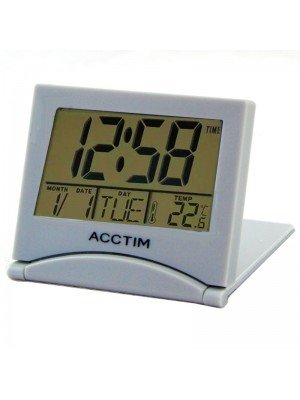 Wholesale Acctim Mini Flip LCD Travel Alarm Clock - Silver