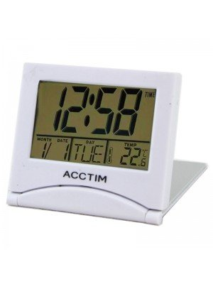 Wholesale Acctim Mini Flip LCD Travel Alarm Clock - White