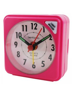Acctim Ingot Quartz Mini Alarm Clock - Pink