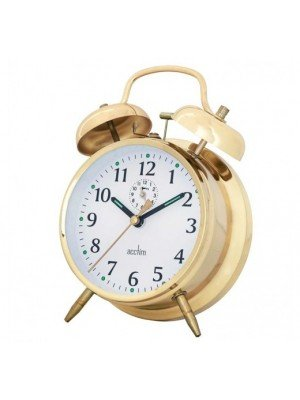 Acctim Keywound Saxon Bell Alarm Clock - Gold