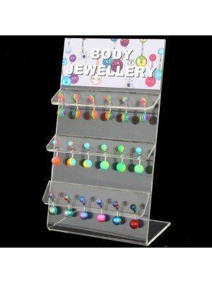 Acrylic Belly Bars (Rainbow Assorted Designs) - 10mm