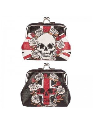 Skull and Roses Union Jack Tic Tac Purse - Assorted