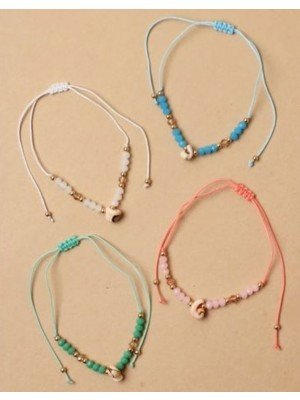 Adjustable Cord Anklet With Shell Charms - Assorted
