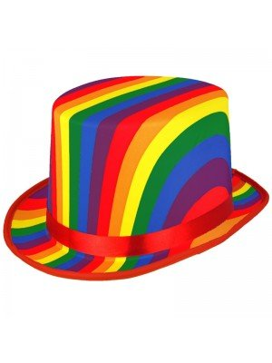 Adults Pride Top Hat - Rainbow Print