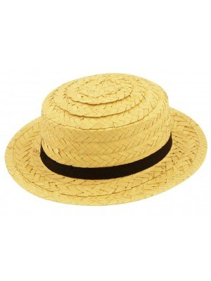 Adults Unisex Straw Boater Hat With Black Band