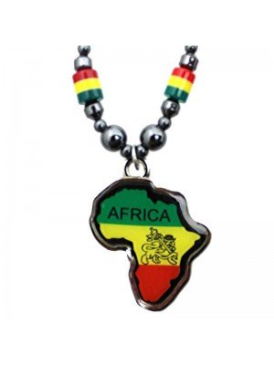 Wholesale Africa Continent Design Necklace - Rasta Colours