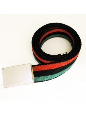 Men's Canvas Belt - Afro-American Flag
