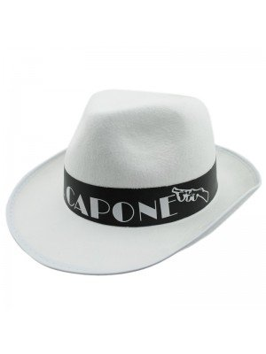 Al Capone Gangster Trilby Party Hat - White