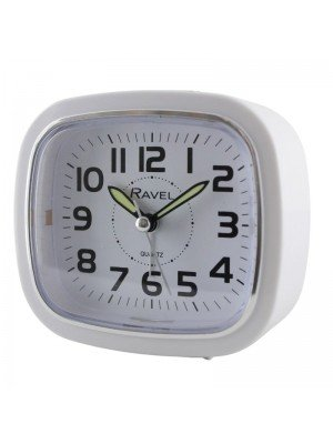 Wholesale Ravel Quartz Alarm Clock with Light - White & Silver